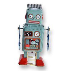 Blikken robot met spriraalveer in de kleur blauw