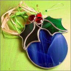 FREE POSTAGE - Stained glass Christmas Bulb Round 3 D Christmas Ornament Indigo