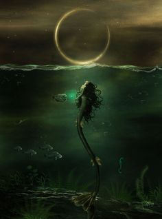 ☆ The Dark Siren :¦: By Artist Carlos Quevedo ☆ Mermaid Myth Mythical Mystical Legend Mermaids Siren Fantasy, Mermaids - golden ring Magical Creatures, Fantasy Creatures, Sea Creatures, Dark Mermaid, Siren Mermaid, Mermaid In Love, Mermaids And Mermen, Fantasy Mermaids, Mermaid Tattoos