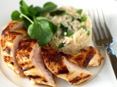 Lemon Chicken with Pea Risotto