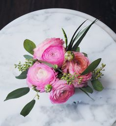 pink ranunculus and seeded eucalyptus hand held ~ great option for a flower girl