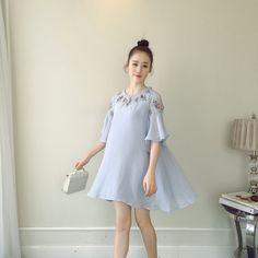 2017 Korean fashion pregnant women chiffon embroidery dress pregnant women loose shoulder loose dress #Affiliate