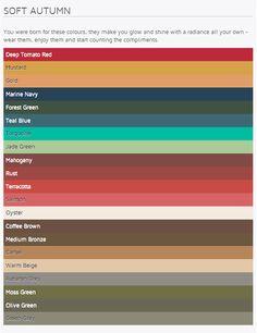 Soft Autumn colours (from gr84colours.com) #autumn color palette