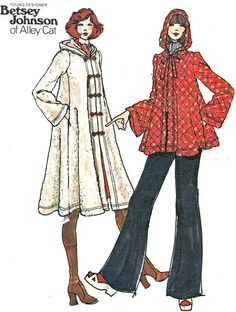 1970s Womens Coat Pattern Butterick 3845 Betsey Johnson Hooded Long or Short Swing Coat Womens Vintage Sewing Pattern Bust 36 Uncut