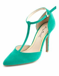 Sueded T-Strap Single Sole Pump: Charlotte Russe