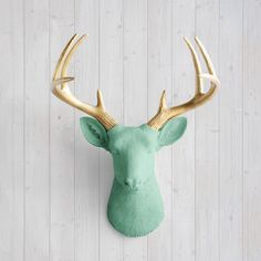 Wall Charmers™ Deer in Mint + Gold Antler - Faux Head Metallic Green Fake Animal Resin Ceramic Taxidermy Turquoise Stag Decor Mount Art Buck...