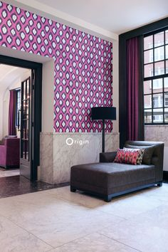 silk pinted non-woven wall covering Ikat pink. Collection Mariska Meijers, Origin - luxury wallcoverings.