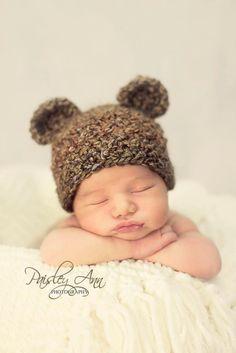 Oso de peluche bebé sombrero del ganchillo - Crochet fotografía Prop - Brown - tamaño neonatal, 0-3 mos, 3-6 mos