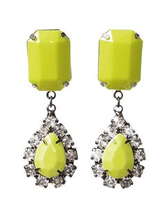 Neon yellow drop earrings - Frostjewel