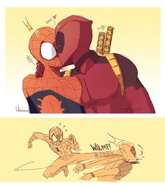 Deadpool and Spiderman funny