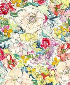 Watercolor Field of Blooms Pattern by Kristy Rice #green #pink #yellow
