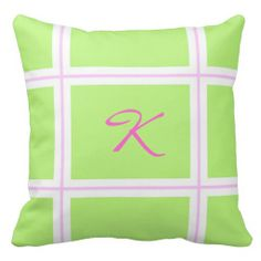Spring Green and Pink Plaid Monogram Pillow