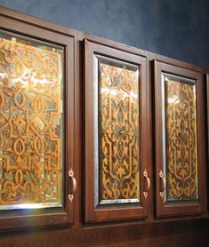 Stenciled Antique Mirrors on Cabinet Door Panels. Great idea for furniture, too! Learn how with our Antique Mirror & Glass Workshop!