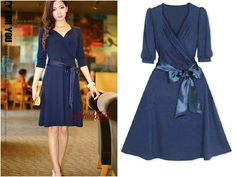 Navy blue Womens Pretty Bowknot Korea Style Coccktail Evening Party Dress XL