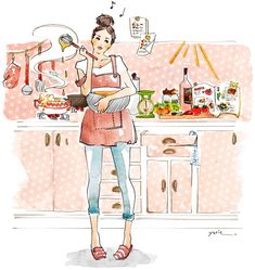 yurie terasawa ILLUSTRATION | Cooking. Kitchen.Apron. Denim.Watercolor.Women.