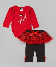 This Duck Duck Goose Red & Black Frenchie Bodysuit & Skirted Leggings by Duck Duck Goose is perfect! #zulilyfinds