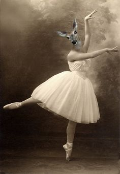 Grace - Vintage Deer 8x12 Print - Ballerina - Altered Photo - Anthropomorphic - Photo Collage - Sepia - Gift Idea - Whimsical - Animal Print