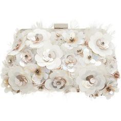 Accessorize Fearne Floral Clipframe Clutch Bag (£56) ❤ liked on Polyvore featuring bags, handbags, clutches, sequin handbags, flower print handbags, beaded handbag, flower handbags and white beaded purse