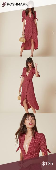 Reformation wrap dress w/ decorative sleeve ties Cute reformation wrap dress for sale. Sleeve ties, high-low length, front slit, V neck. Beautiful red print picture close up❤️ worn once in a car photoshoot Reformation Dresses Maxi