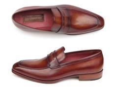 PAUL PARKMAN ® The Art of Handcrafted Men's Footwear - Paul Parkman Men's Penny Loafer Tobacco & Bordeaux Hand-Painted Shoes