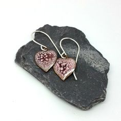 Pink Enamel Heart Dangle Earrings by MaisyPlum on Etsy