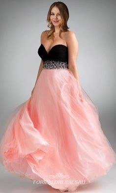 Sexy black and pink plus size prom dresses PLPD010