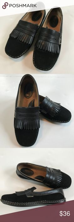 Born leather and suede shoes with fringe flap Sz 9 Great fashion and comfort combination. Golf inspired styling that's on trend. Really cute shoes. Minimal wear other than some discoloration on the inside of the shoe and some wear on bottom sole. Lots of mileage left. Leather and suede. Shoes Flats & Loafers