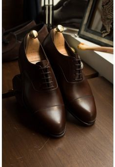 Carmina Robert 732 Oxford Simple Captoe - Calf Brown - Shoes
