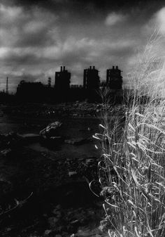 Industrial Black & White Infrared Photograph - North - fine art dark factory power plant river 16x24 	 TimlabArt on etsy