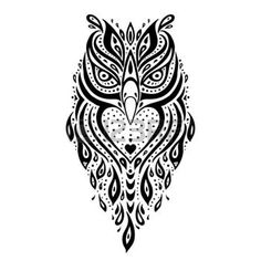 dessin tribal: Hibou décoratif. Motif tribal. Tatouage ethnique. Vector illustration.
