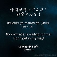 Learn Japanese with phrases from One Piece anime and manga: http://japanesetest4you.com/learn-japanese-quotes-from-one-piece-7