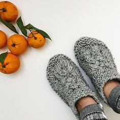 Ravelry Ravelry: Mine pattern by Faye Kennington - There's pretty much nothing that I enjoy more than a super-quick knit project, except maybe putting on a pair of comfy, cozy wool slippers. And these slippers are Mine, all mine. Knitted Slippers, Crochet Slippers, Knit Or Crochet, Felted Slippers Pattern, Knitting Socks, Knitting Needles, Baby Knitting, Knit Socks, Knitting Machine