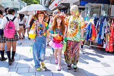 Super-colorful Harajuku Fashion Walk kids in Crocs & rocking horse shoes. :-)