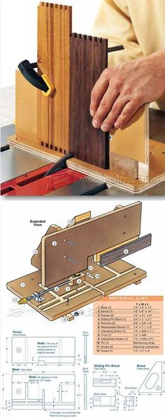 Adjustable Box Joint Jig - Joinery Tips, Jigs and Techniques | WoodArchivist.com Box Joint Jig, Box Joints, Woodworking Box, Woodworking Techniques, Woodworking Projects, Homemade Tools, Diy Tools, Assemblages, Woodworking Accessories