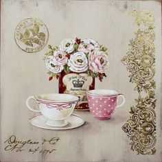 Old Prints Antiqued with gold. Two cups and tea can. Decoupage Vintage, Vintage Tea, Vintage Cards, Vintage Paper, Images Vintage, Vintage Pictures, Collages D'images, Tee Kunst, Etiquette Vintage