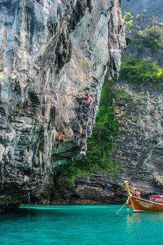 Deep Water Solo Rock Climbing in Railay