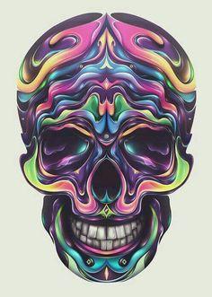 "Fantastic digital illustrations by Dutch artist Rik Oostenbroek. ""Known for his dynamic forms & unique abstract shapes, Rik is fluent in various styles of design… Candy Skulls, Art It, Badass Skulls, Skull Pictures, Skull Artwork, Skull Drawings, Skeleton Art, Skeleton Makeup, Sugar Skull Art"