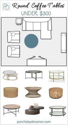 Know if round, square or rectagular shaped coffee table is right for your furniture layout. An easy guide to coffee tables with budget friendly options.