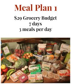 29 Dollar Grocery Budget Meal Plan 1 – Real: The Kitchen and Beyond - Healthy Recipes Cheap Meal Plans, Aldi Meal Plan, Meal Prep Cheap, Weekly Meal Plans, Weekly Meal Plan Family, One Week Meal Plan, Inexpensive Meals, Cheap Dinners, Budget Dinners