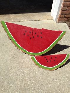 Watermelon slices - painted wedges from cut-down tree.  Thanks, Amy R.