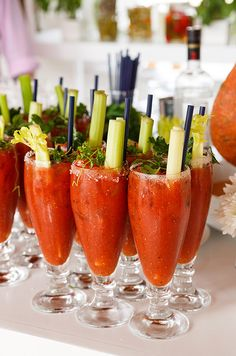 Fresh bloody marys are topped with celery sticks and herbs, the ideal way to start a spring brunch.