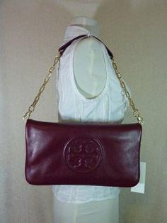 607d9bb5ec6 Tory Burch Burgundy Clutch Red Leather