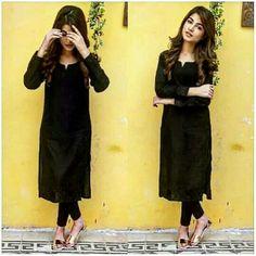 65 Ideas For Fashion Girl Black Simple Indian Fashion Dresses, Dress Indian Style, Indian Designer Outfits, Muslim Fashion, Black Salwar Kameez, Black Kurti, Churidar, Simple Kurti Designs, Kurta Designs Women