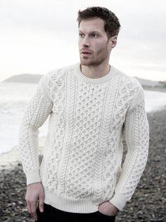 Aran Sweaters for Men - Men's Irish Knitwear & Cardigans Mens Fashion Sweaters, Knitwear Fashion, Sweater Fashion, Sweater Outfits, Men's Knitwear, Mens Cable Knit Sweater, Men Sweater, Chris Evans, Hollywood Stars