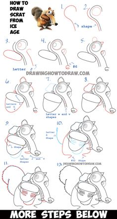 How to Draw Scrat the Squirrel from Ice Age - Step by Step Drawing Tutorial