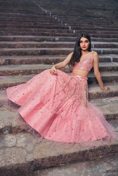 Pretty in Pink.Issa pastel pink lehenga with fringes all over.They can customize the dress as per your requirement. For more detail 09 March 2018 Pink Lehenga, Bridal Lehenga, Indian Dresses, Indian Outfits, Lehnga Dress, Lehenga Blouse, Ghagra Choli, Sharara, Indian Colours