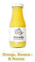 Smoothie Immedia - La folie smoothies, une tendance qui donne la pêche - Un an et demi après son lancement, la marque Immedia est déjà leader sur le marché. Pour preuve : on la trouve dans plus de 500 points de vente partout en France (Fauchon...