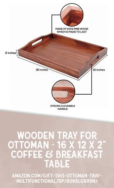 PRACTICAL AND STYLISH: Our ottoman trays are the best of both worlds. Classic, elegant, and super versatile, our wooden trays are a lovely accessory that allow you to serve breakfast, coffee, and snacks without compromising on style!