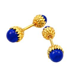 Tiffany & Co. Natural Lapis Lazuli Acorn Cufflinks by Schlumberger | From a unique collection of vintage cufflinks at http://www.1stdibs.com/jewelry/cufflinks/cufflinks/