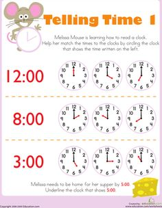 Worksheets: Telling Time with Melissa Mouse 1